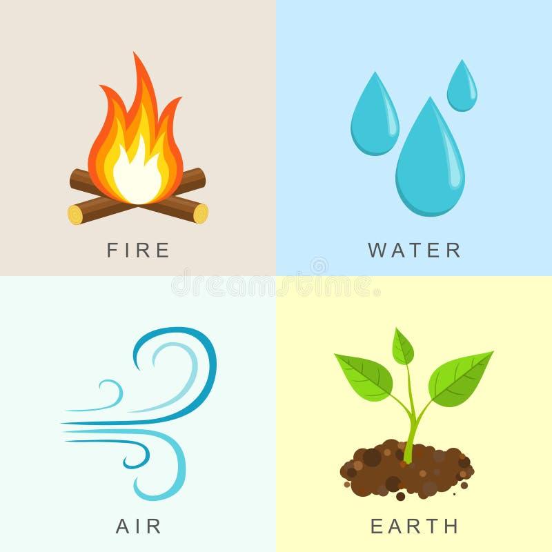 Φυσικά στοιχεία - πυρκαγιά, νερό, αέρας και γη ελεύθερη απεικόνιση δικαιώματος