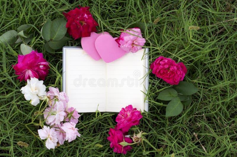 Φυσικά υπόβαθρα και βιβλία για τα ρητά με τα τριαντάφυλλα, καρδιές, κόκκινες κορδέλλες, έννοιες ημέρας του βαλεντίνου στοκ φωτογραφίες