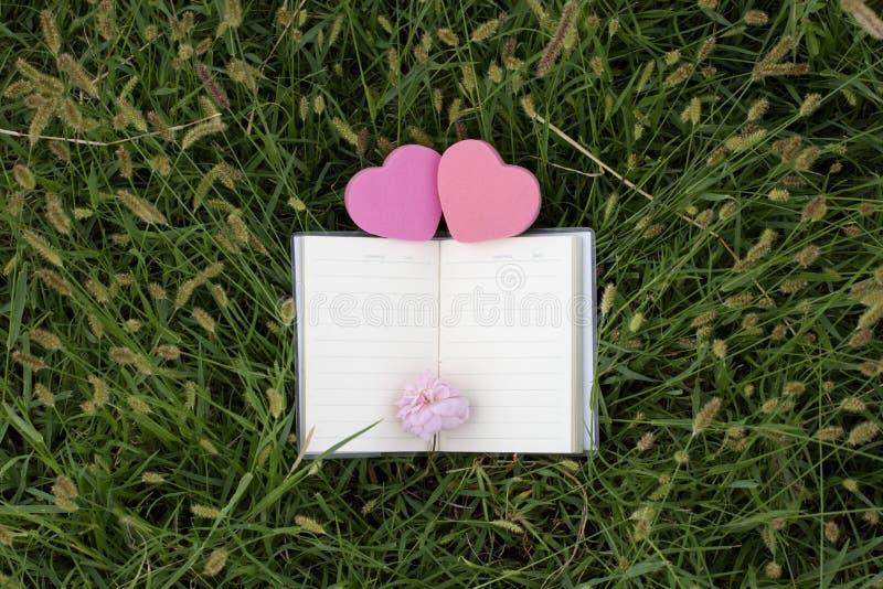 Φυσικά υπόβαθρα και βιβλία για τα ρητά με τα τριαντάφυλλα, καρδιές, κόκκινες κορδέλλες, έννοιες ημέρας του βαλεντίνου στοκ φωτογραφία