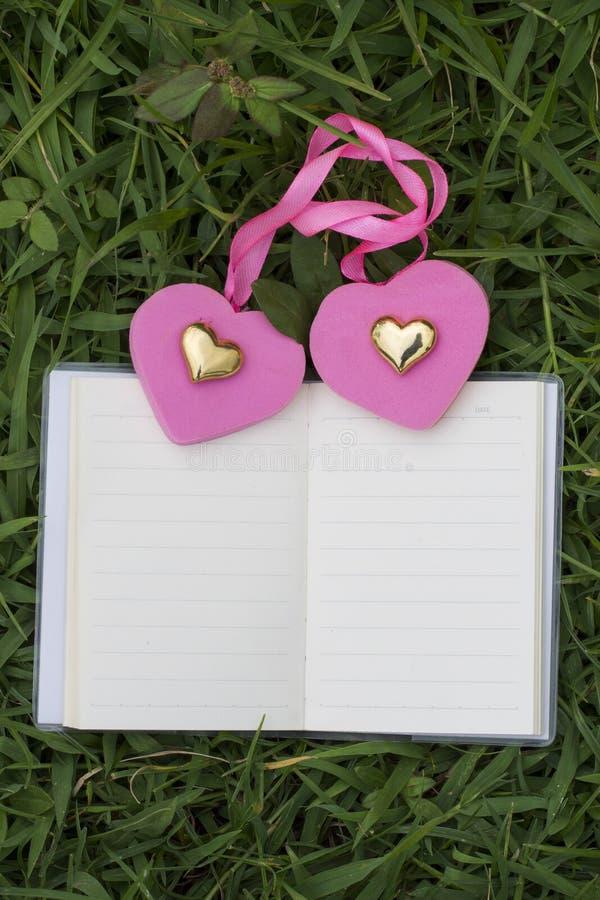 Φυσικά υπόβαθρα και βιβλία για τα ρητά με τα τριαντάφυλλα, καρδιές, κόκκινες κορδέλλες, έννοιες ημέρας του βαλεντίνου στοκ εικόνα