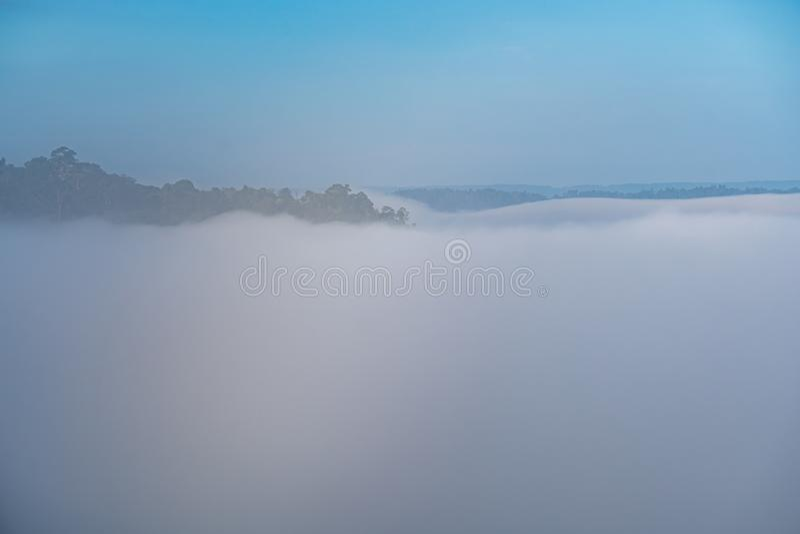 Φυσικά φαινόμενα Το Fogbow ή το λευκό ουράνιο τόξο εμφανίζεται πάνω από την ομίχλη στοκ εικόνες με δικαίωμα ελεύθερης χρήσης