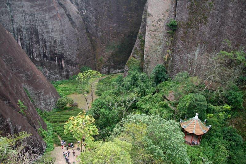 Φυσική άποψη από την κορυφή της αιχμής βουνών Wuyi, Fujian στοκ εικόνα