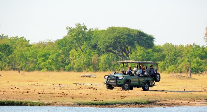 Φυσική άποψη ενός φορτηγού σαφάρι σε μια κίνηση παιχνιδιών με τους τουρίστες που ψάχνουν το παιχνίδι, εθνικό πάρκο Hwange, Ζιμπάμ στοκ φωτογραφίες με δικαίωμα ελεύθερης χρήσης