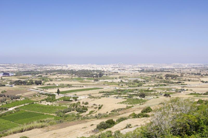 Φυσική άποψη πέρα από το τοπίο της Μάλτας στοκ φωτογραφία
