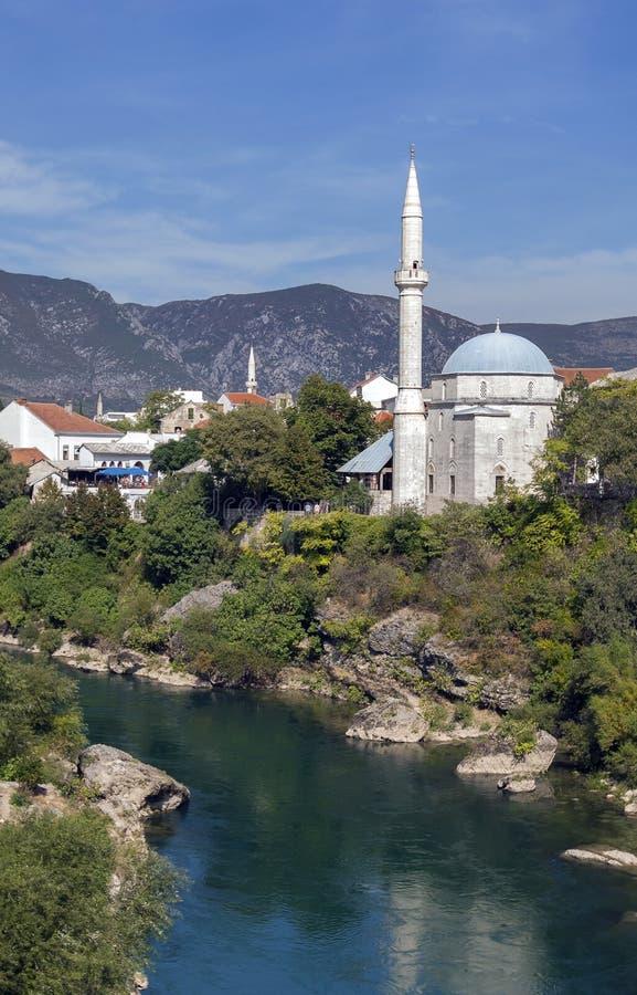 Φυσική άποψη της ιστορικής πόλης του Μοστάρ, Βοσνία στοκ φωτογραφία με δικαίωμα ελεύθερης χρήσης