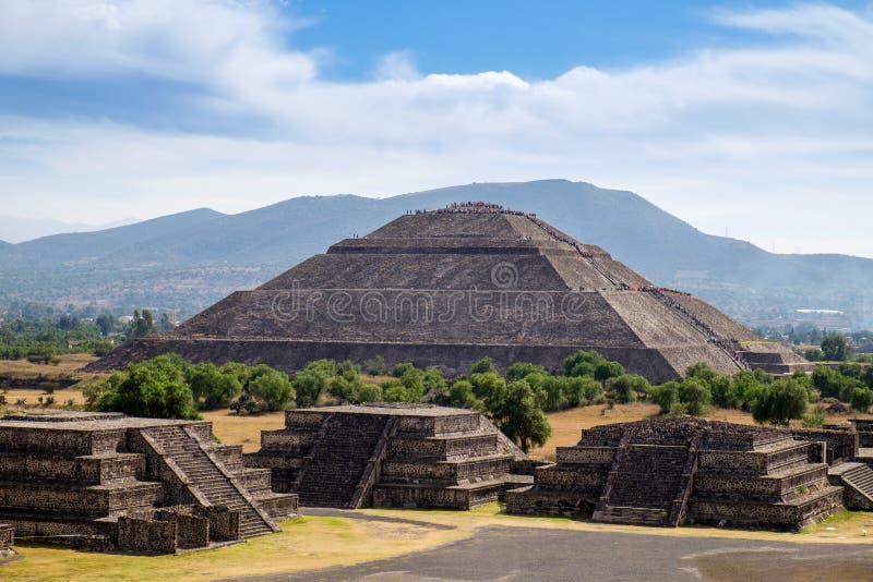 Φυσική άποψη της πυραμίδας του ήλιου σε Teotihuacan στοκ φωτογραφία με δικαίωμα ελεύθερης χρήσης