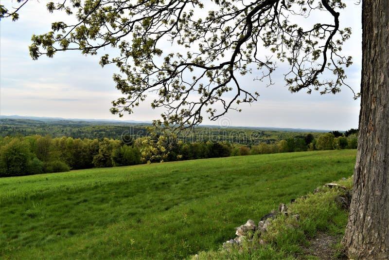Φυσική άποψη του εθνικού Wildlfe καταφυγίου Oxbow παίρνω από το Χάρβαρντ, Μασαχουσέτη, Ηνωμένες Πολιτείες στοκ εικόνες