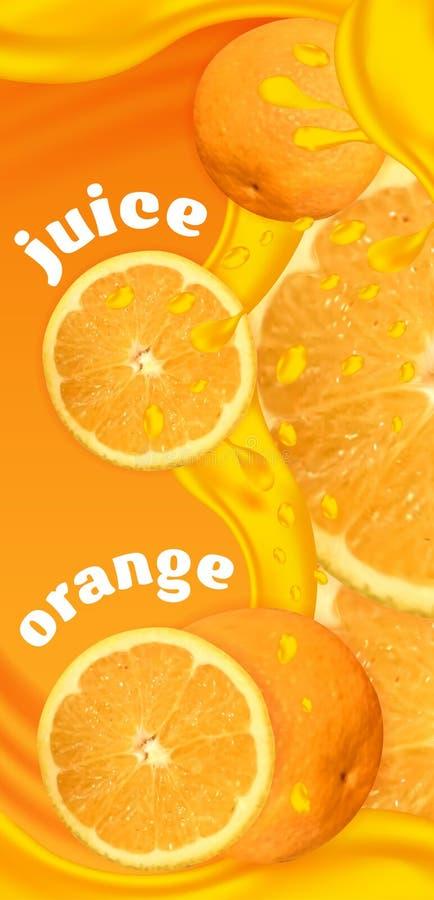 Φυσική ετικέτα χυμού από πορτοκάλι προτύπων σχεδίου διάνυσμα απεικόνιση αποθεμάτων