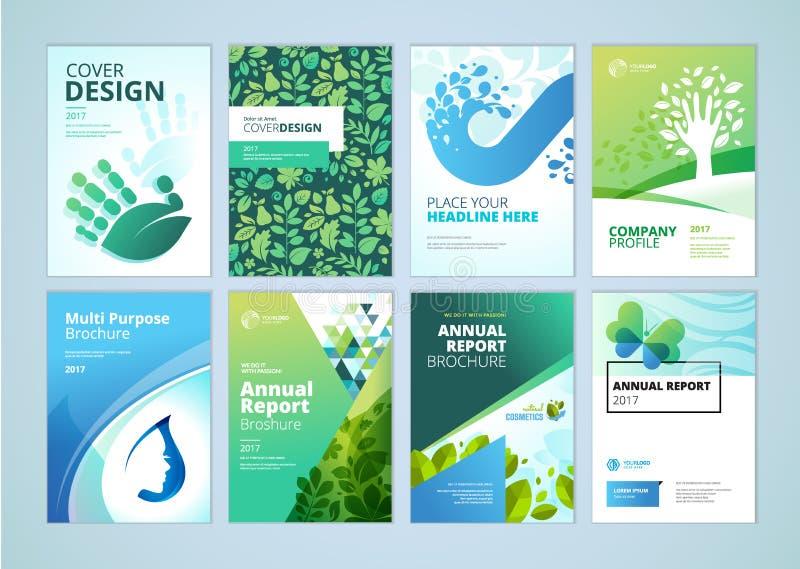 Φυσική και οργανική συλλογή προτύπων σχεδιαγράμματος σχεδίου και ιπτάμενων κάλυψης φυλλάδιων προϊόντων διανυσματική απεικόνιση