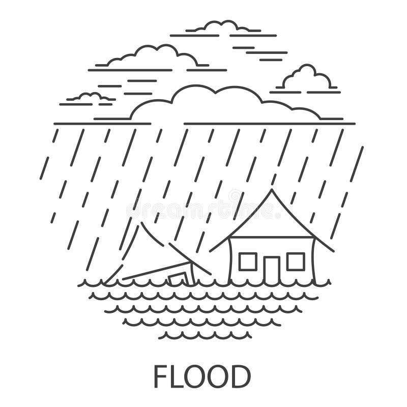 Φυσική καταστροφή πλημμυρών ελεύθερη απεικόνιση δικαιώματος