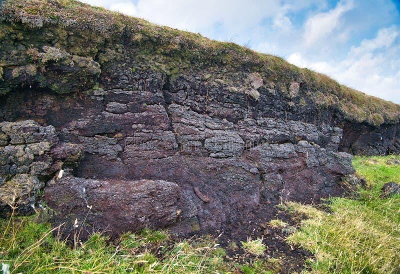 Φυσική τύρφη εκτεθειμένη κοντά στο Culswick, Shetland Mainland, UK στοκ εικόνα
