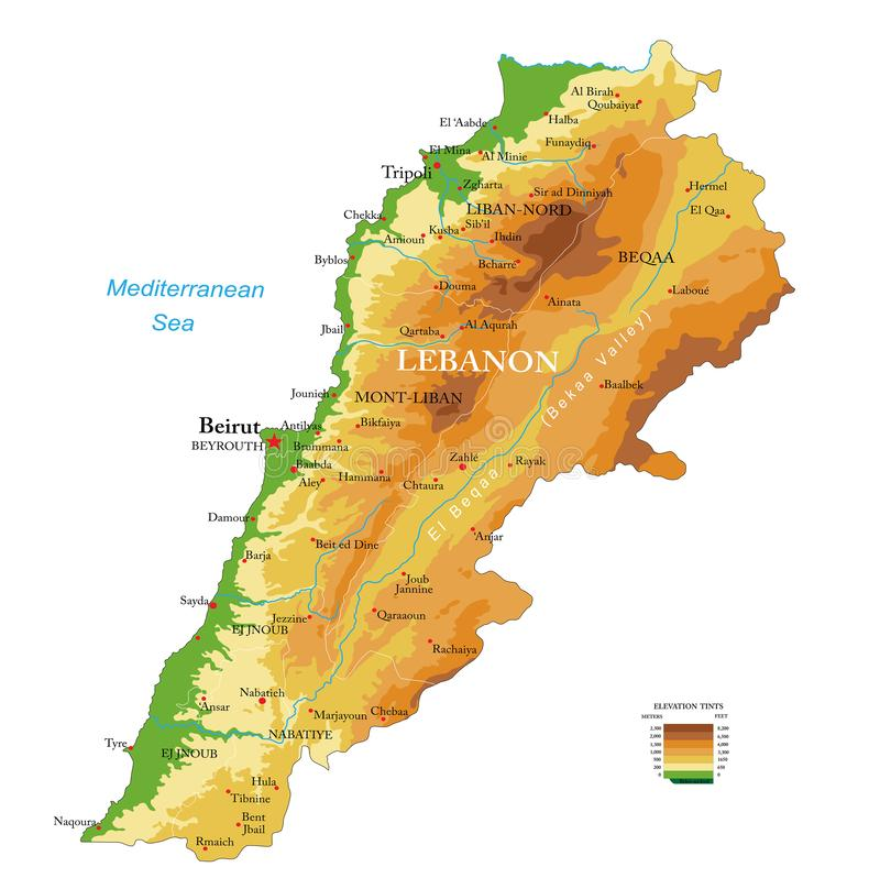 Φυσικός χάρτης του Λιβάνου στοκ φωτογραφίες