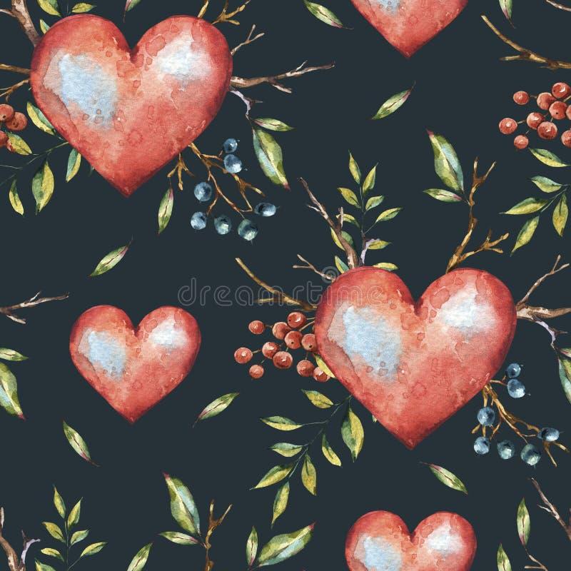 Φυσικό άνευ ραφής σχέδιο watercolor ημέρας βαλεντίνων με τις καρδιές απεικόνιση αποθεμάτων