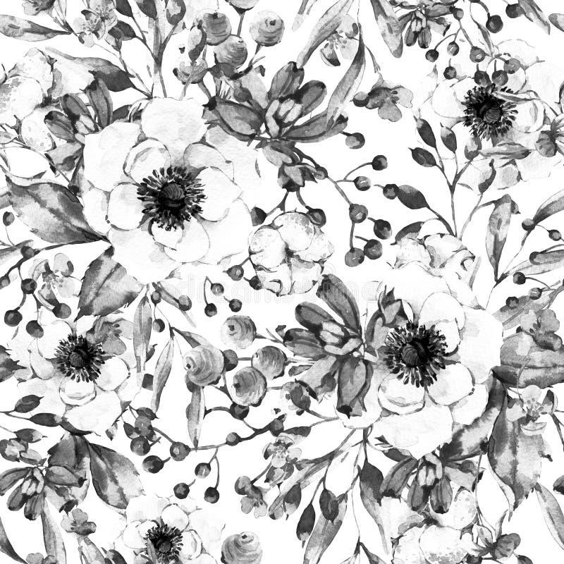 Φυσικό άνευ ραφής σχέδιο Watercolor με το anemone διανυσματική απεικόνιση