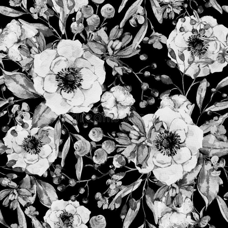 Φυσικό άνευ ραφής σχέδιο Watercolor με το anemone ελεύθερη απεικόνιση δικαιώματος
