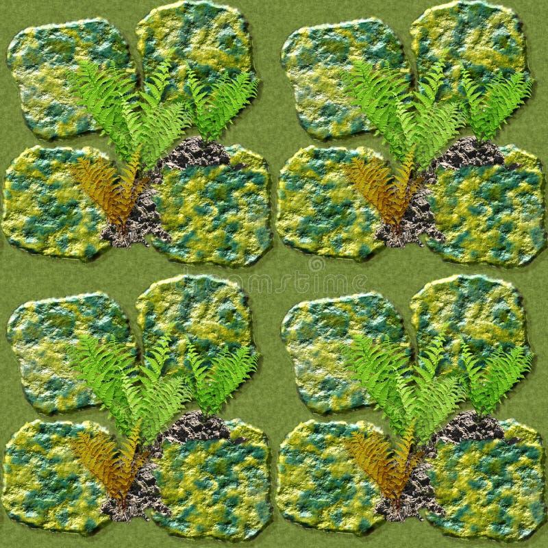 Φυσικό άνευ ραφής σχέδιο των πράσινων και χρυσών πετρών και των φτερών ελεύθερη απεικόνιση δικαιώματος
