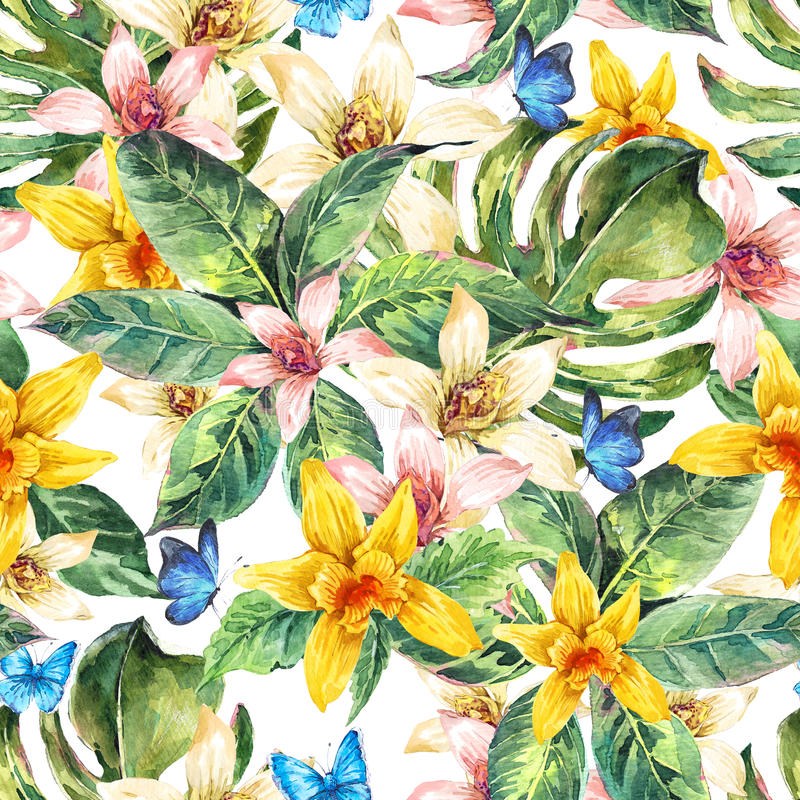 Φυσικό άνευ ραφής σχέδιο watercolor φύλλων, ορχιδέα λουλουδιών απεικόνιση αποθεμάτων