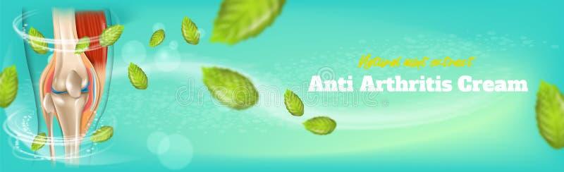 Φυσικό εκχύλισμα μεντών αντι κρέμας αρθρίτιδας εμβλημάτων απεικόνιση αποθεμάτων
