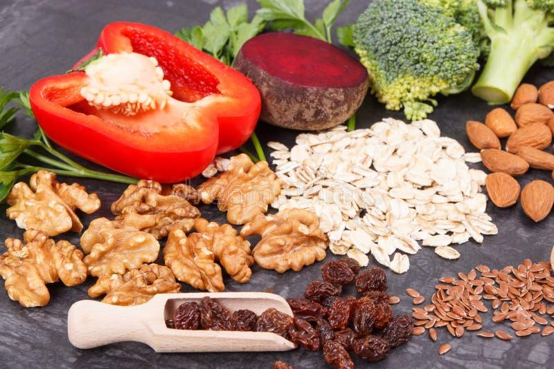 Φυσικό θρεπτικό αγαθό τροφίμων για την υπέρταση και το διαβήτη, υγιής τρόπος ζωής στοκ φωτογραφίες