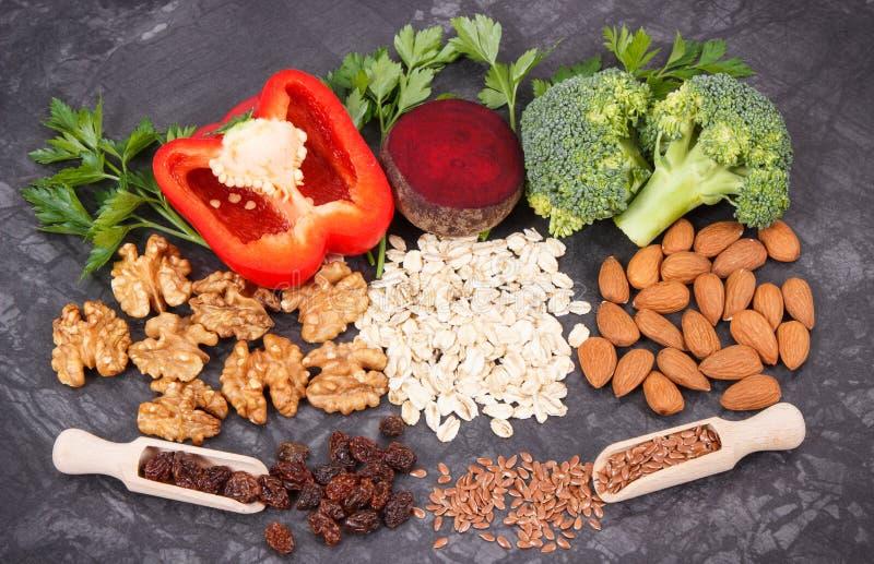 Φυσικό θρεπτικό αγαθό τροφίμων για την υπέρταση και το διαβήτη, υγιής τρόπος ζωής στοκ εικόνες