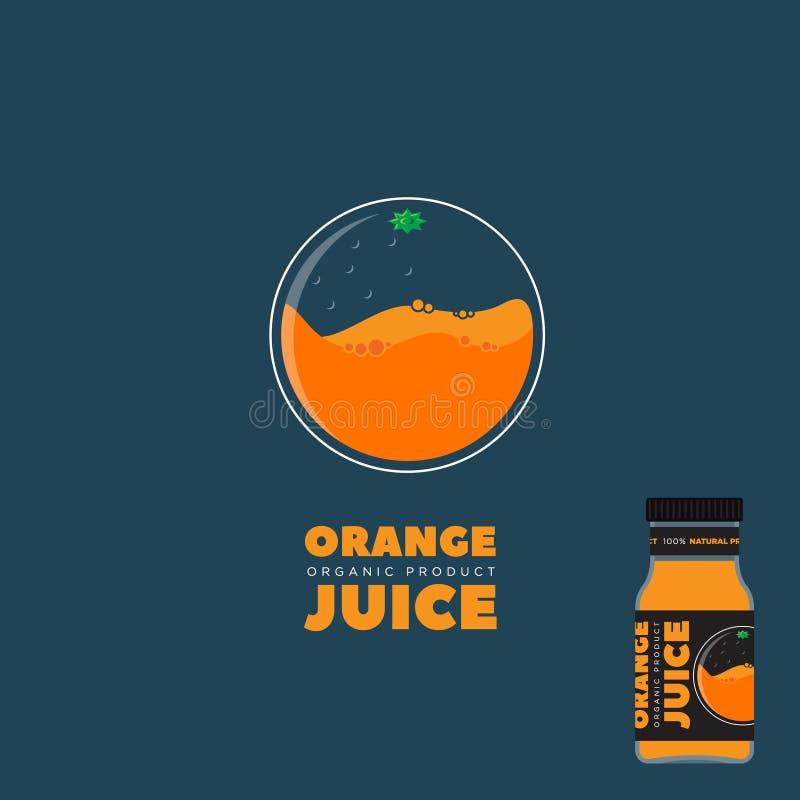 Φυσικό λογότυπο χυμού Πορτοκαλί σχέδιο συσκευασίας Ετικέτα για το χυμό διανυσματική απεικόνιση