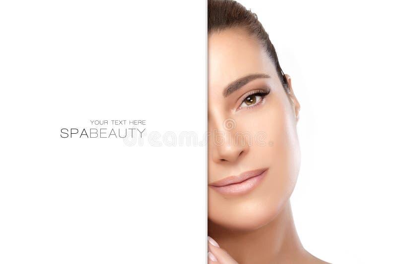 Φυσικό νέο μισό πρόσωπο γυναικών Έννοια ομορφιάς SPA στοκ φωτογραφία με δικαίωμα ελεύθερης χρήσης