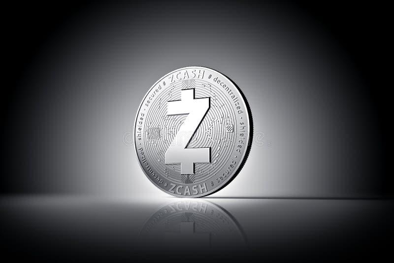 Φυσικό νόμισμα έννοιας cryptocurrency Zcash στο ήπια αναμμένο σκοτεινό υπόβαθρο απεικόνιση αποθεμάτων