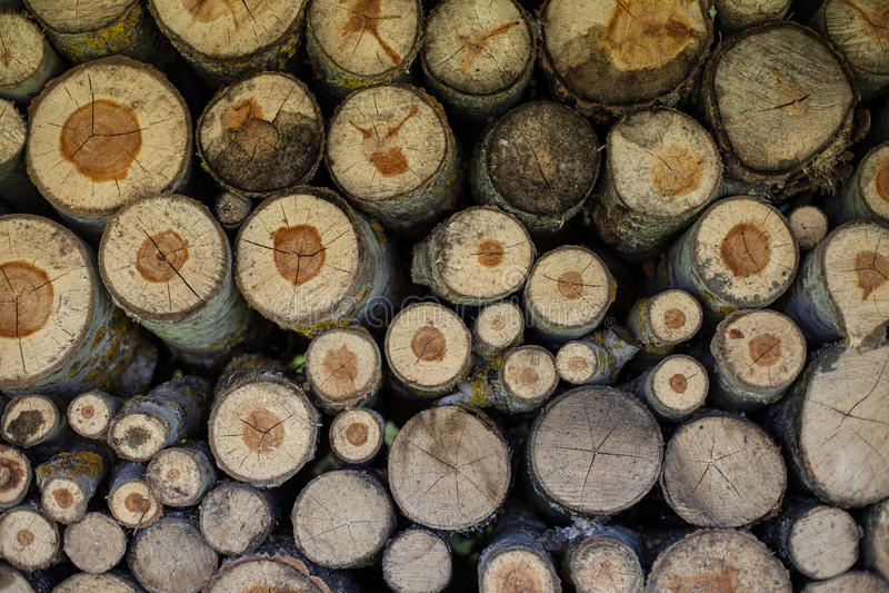 Φυσικό ξύλινο υπόβαθρο, κινηματογράφηση σε πρώτο πλάνο του τεμαχισμένου καυσόξυλου Καυσόξυλο που συσσωρεύεται και που προετοιμάζε στοκ φωτογραφίες