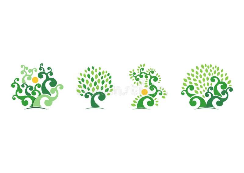 Φυσικό λογότυπο δέντρων, πράσινο διανυσματικό σχέδιο εικονιδίων συμβόλων απεικόνισης οικολογίας δέντρων ελεύθερη απεικόνιση δικαιώματος