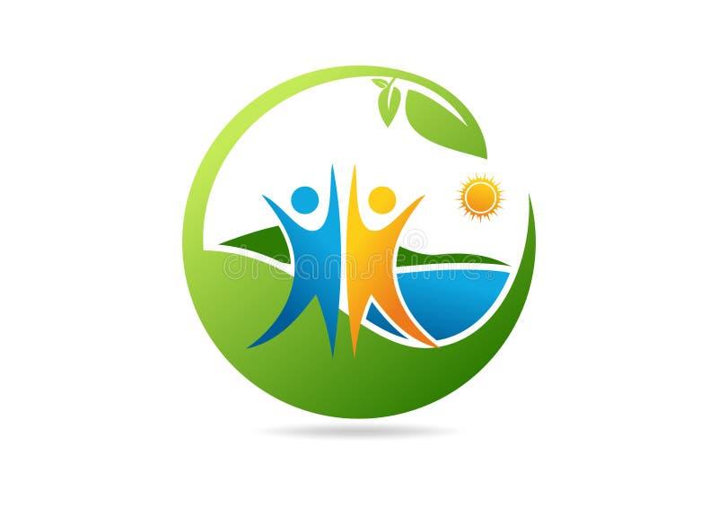 Φυσικό λογότυπο θεραπείας διανυσματική απεικόνιση
