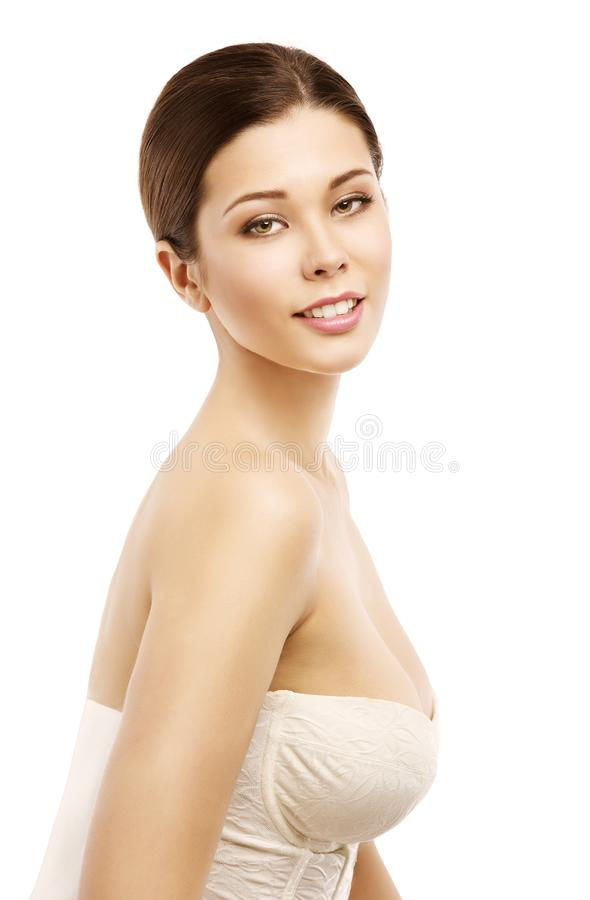 Φυσικό πορτρέτο ομορφιάς προσώπου γυναικών, νέο όμορφο πρότυπο στοκ φωτογραφία