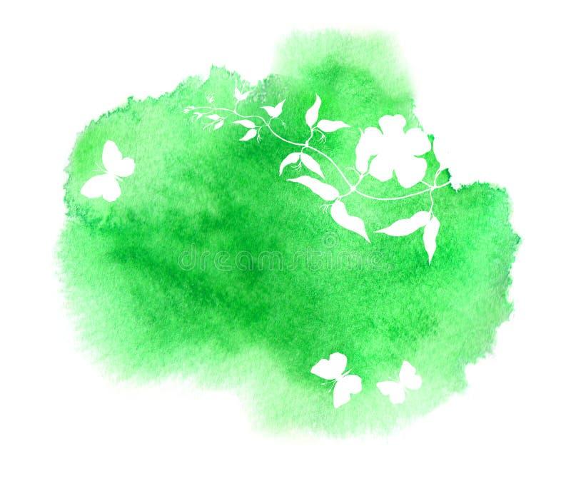 Φυσικό σχέδιο για τη χαλάρωση SPA, τον τίτλο μασάζ ή τη θεραπεία υγείας Εγκαταστάσεις λουλουδιών, πεταλούδες Μοναδικό watercolor στοκ εικόνα με δικαίωμα ελεύθερης χρήσης