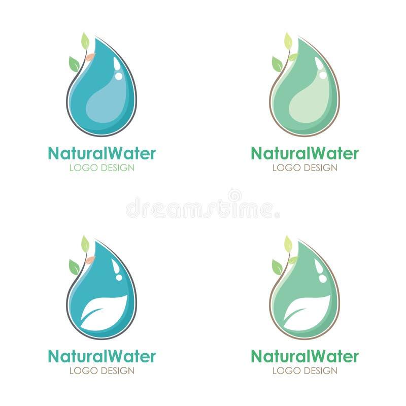 Φυσικό σχέδιο λογότυπων νερού με την πτώση νερού και την απεικόνιση φύλλων διανυσματική απεικόνιση