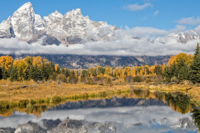 Φυσικό τοπίο αντανάκλασης φθινοπώρου Teton στοκ φωτογραφίες με δικαίωμα ελεύθερης χρήσης