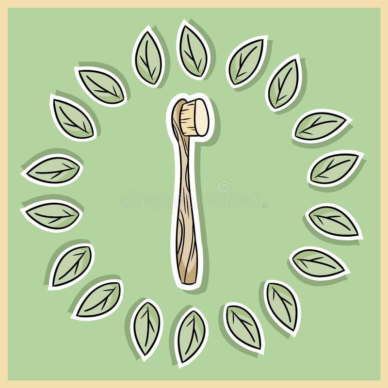 Φυσικό υλικό μπαμπού tothbrush Οικολογικό και προϊόν μηδέν-αποβλήτων Θερμοκήπιο και πλαστικός-ελεύθερη διαβίωση διανυσματική απεικόνιση