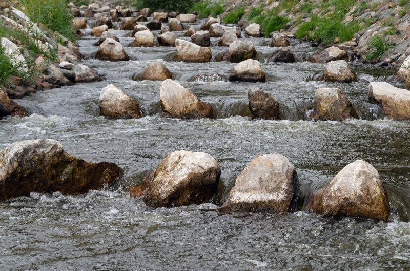 Φυσικό φράγμα βημάτων σκαλών ψαριών που διασχίζει τις πέτρες μεταβάσεων στοκ φωτογραφία με δικαίωμα ελεύθερης χρήσης