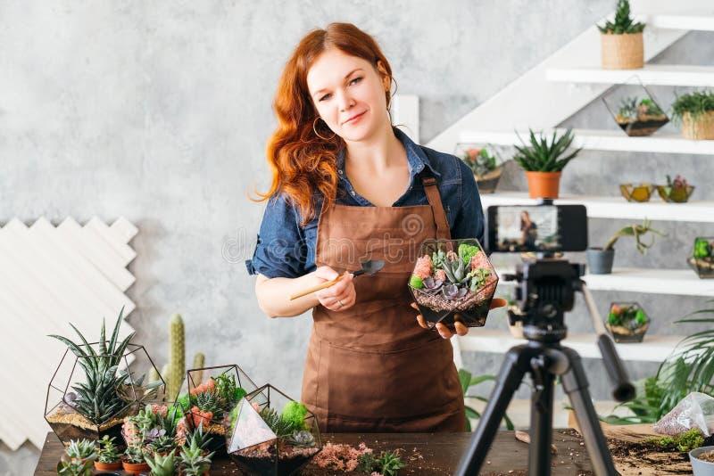 Φυσικό florarium ειδικών vlog γυναικών ντεκόρ στοκ εικόνες
