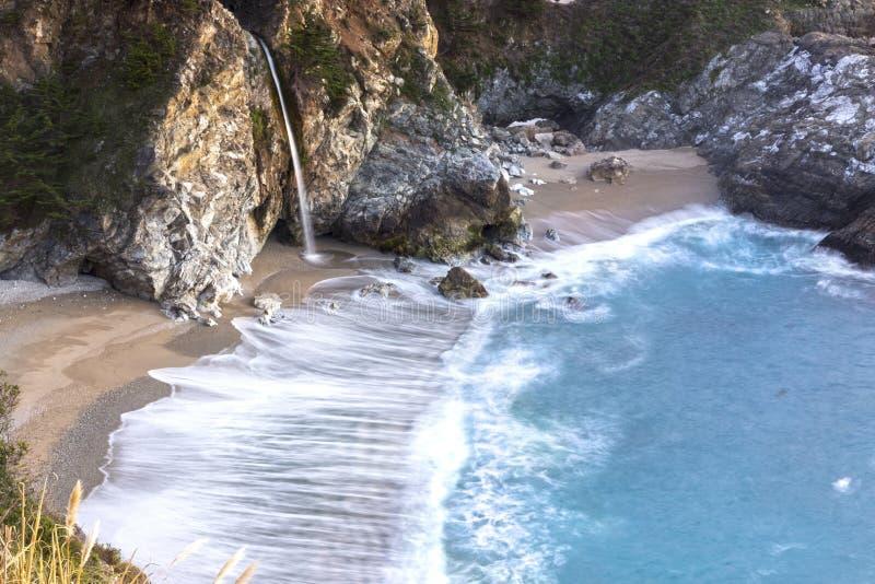 Φυσικό McWay πέφτει μεγάλη κεντρική Καλιφόρνια ακτή Sur στοκ εικόνα με δικαίωμα ελεύθερης χρήσης