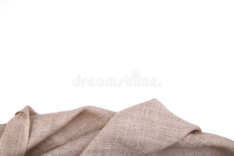 Φυσικό sackcloth που απομονώνεται στο άσπρο υπόβαθρο Απομονωμένος καμβάς στοκ εικόνα με δικαίωμα ελεύθερης χρήσης