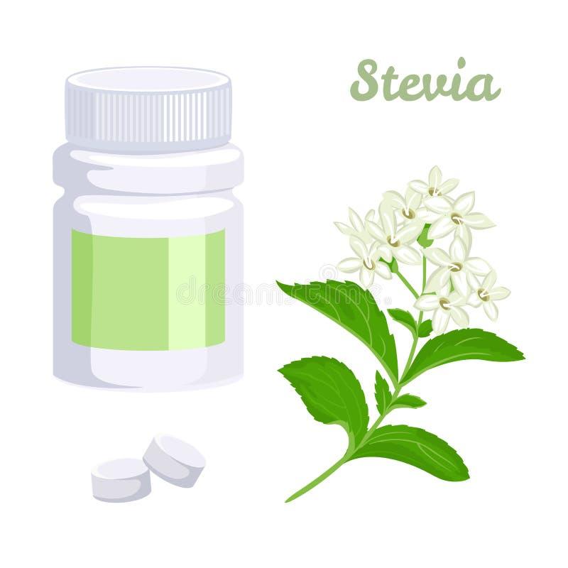 Φυσικό stevia γλυκαντικών ουσιών Μπουκάλι με τα χάπια, τις ταμπλέτες και τις εγκαταστάσεις απεικόνιση αποθεμάτων