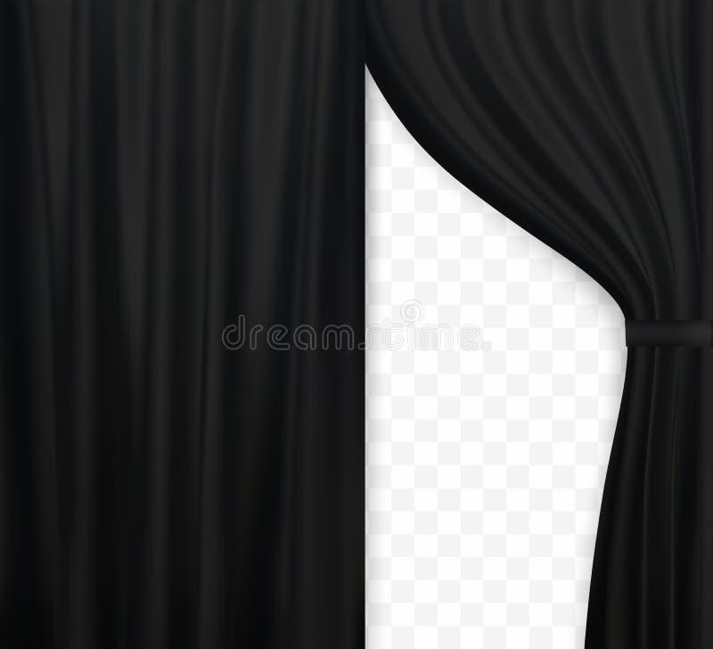 Φυσιοκρατική εικόνα της κουρτίνας, ανοικτό μαύρο χρώμα κουρτινών στο διαφανές υπόβαθρο επίσης corel σύρετε το διάνυσμα απεικόνιση ελεύθερη απεικόνιση δικαιώματος