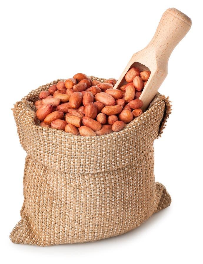Φυστίκι ή αραχίδα με τη σέσουλα στην τσάντα που απομονώνεται στο άσπρο backgrou στοκ εικόνα με δικαίωμα ελεύθερης χρήσης