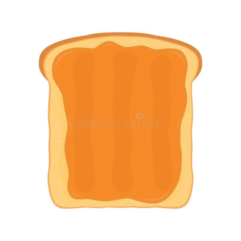 Φυστικοβούτυρο τηγανισμένο στο φρυγανιά ψωμί με το βούτυρο Επίπεδο ύφος διανυσματική απεικόνιση