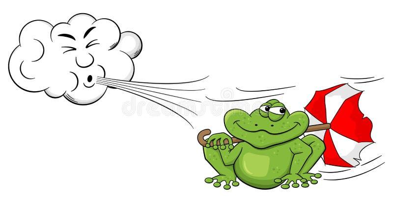 Φυσώντας αέρας σύννεφων κινούμενων σχεδίων σε έναν βάτραχο με την ομπρέλα ελεύθερη απεικόνιση δικαιώματος