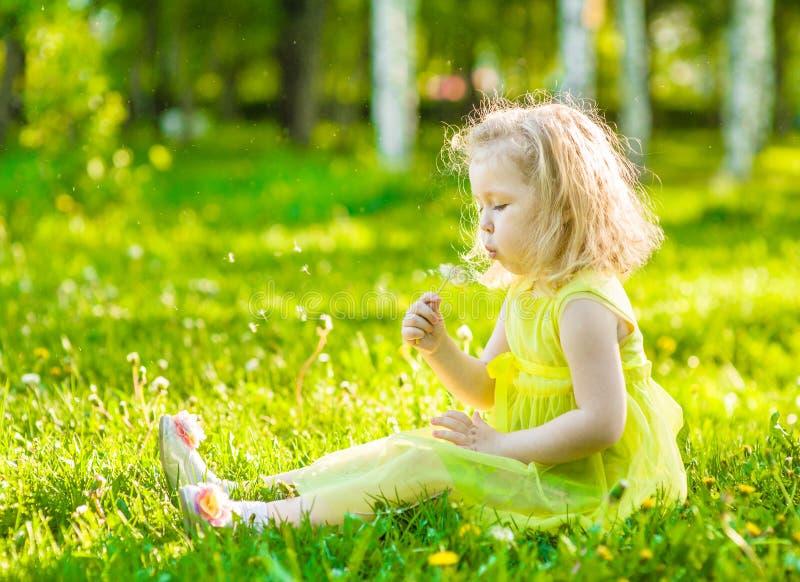 Φυσώντας πικραλίδα μικρών κοριτσιών στοκ εικόνες