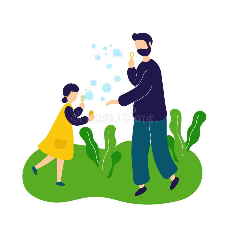 Φυσώντας φυσαλίδες σαπουνιών πατέρων με την κόρη υπαίθρια ελεύθερη απεικόνιση δικαιώματος