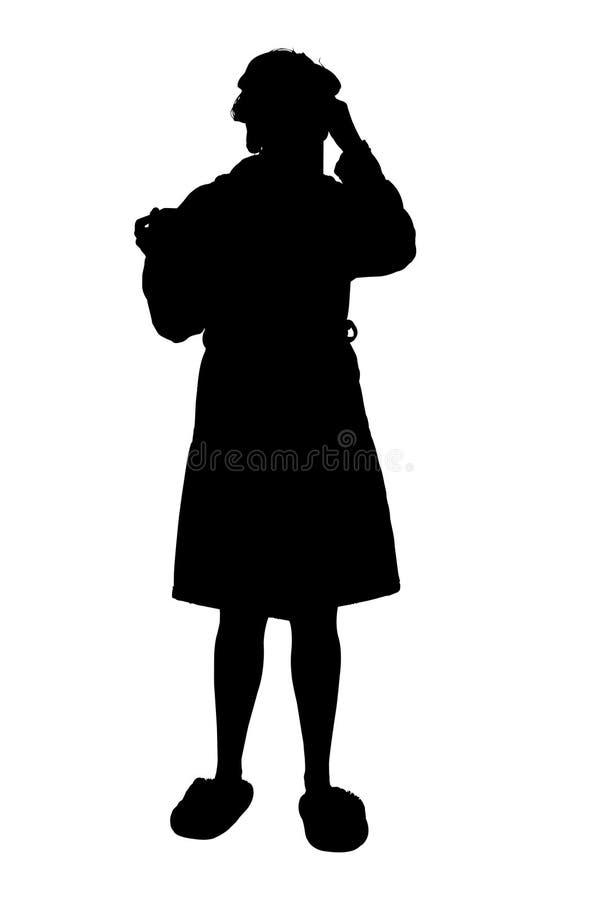 φυσώντας ψαλιδίζοντας γυναίκα σκιαγραφιών τηβέννων μονοπατιών μύτης στοκ εικόνα με δικαίωμα ελεύθερης χρήσης
