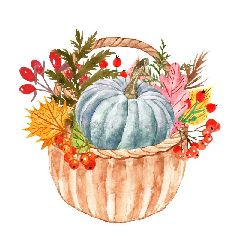 Φυτά και φύλλα φθινοπώρου Watercolor στο καλάθι Ζωηρόχρωμο πορτοκαλί, κίτρινο και κόκκινο φύλλο δασικών δέντρων με τα κόκκινα μού ελεύθερη απεικόνιση δικαιώματος