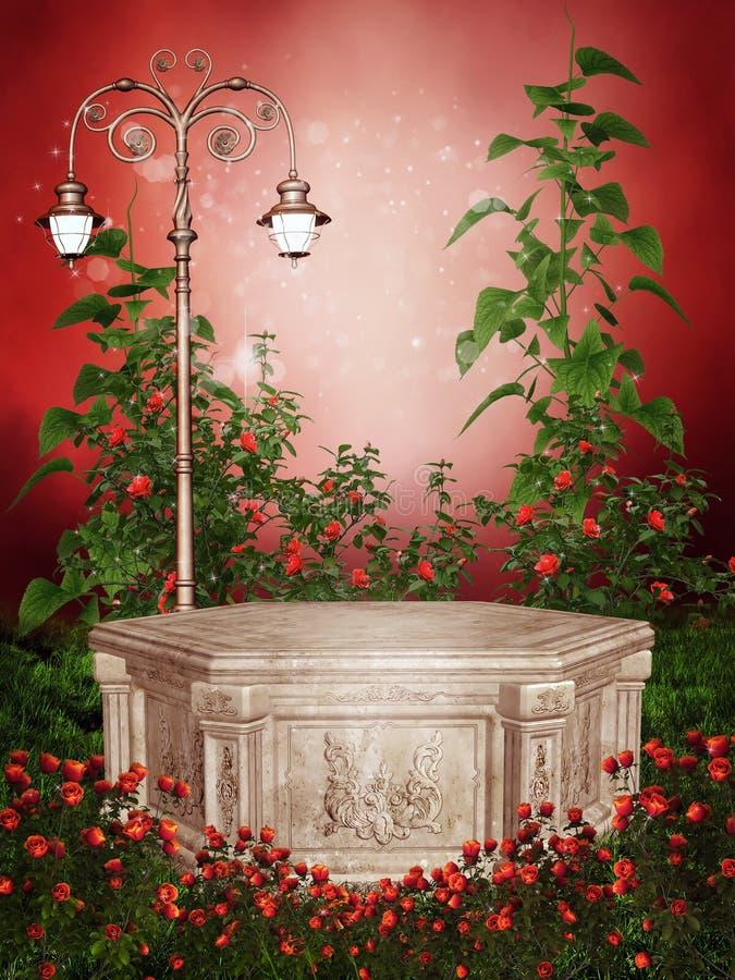 Φυτεία με τριανταφυλλιές με έναν βικτοριανό λαμπτήρα απεικόνιση αποθεμάτων