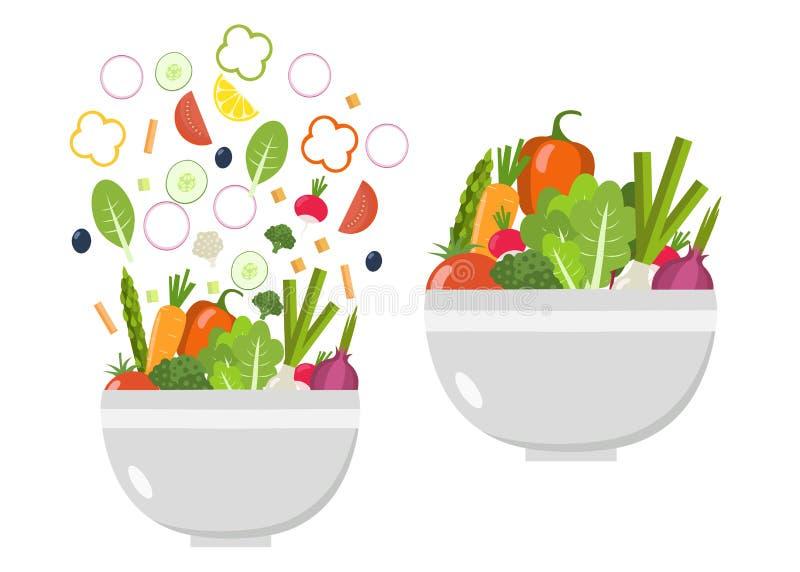 Φυτικά κύπελλο και πιάτο λαχανικά φετών σιτηρεσίο&ups Επίπεδο σχέδιο απεικόνιση αποθεμάτων